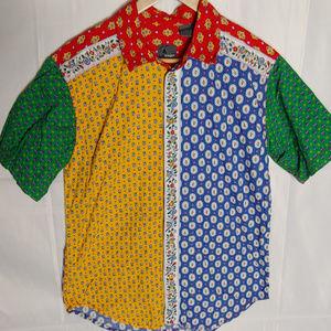 Vintage Liz Wear Provincial Patchwork Button Shirt